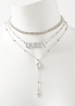3-Pack Silver Layered Queen Dangle Necklace Set
