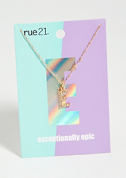 Gold E Initial Charm Necklace