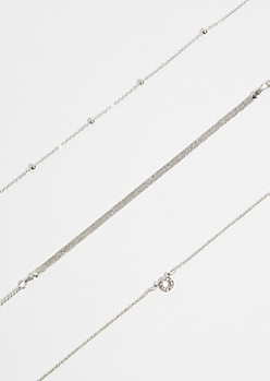3-Pack Silver Pave Circle Choker Necklace Set