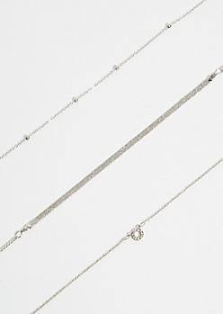 3-Pack Silver Pave Snake Circle Bracelet Set