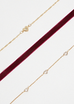 3-Pack Gold Velvet Heart Choker Necklace Set