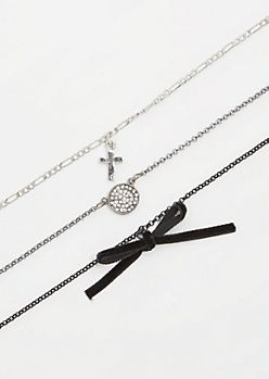 3-Pack Mixed Metal Chain Bow Choker Necklace Set