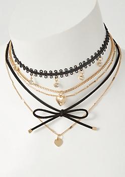 4-Pack Gold Locket Charm Choker Necklace Set