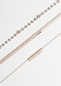 3-Pack Rose Gold Fearless Bar Choker Necklace Set
