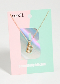 Gold B Initial Charm Necklace