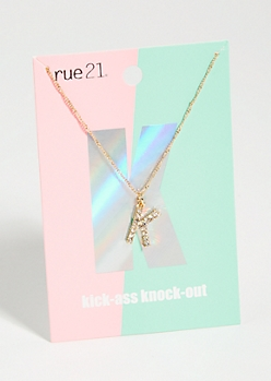Gold K Initial Charm Necklace