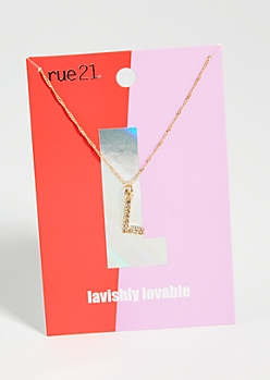 Gold L Initial Charm Necklace