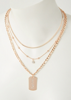 2-Pack Rose Gold Faith Dog Tag Necklace Set