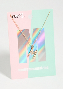 Gold M Initial Charm Necklace