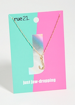 Gold J Initial Charm Necklace