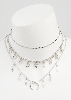 3-Pack Silver Good Vibes Layered Choker Necklace Set