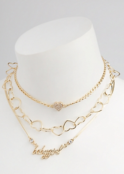 3-Pack Gold Heart Link Necklace Set