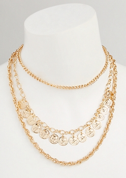 Gold Coin Layered Chain Necklace