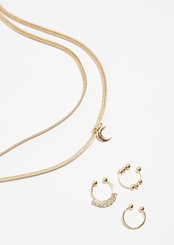 4-Pack Gold Choker and Septum Ring Set