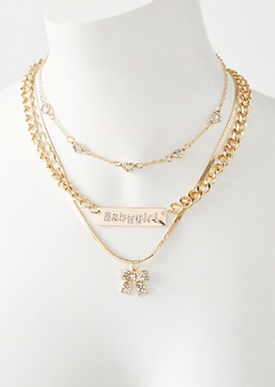 3-Pack Gold Baby Girl Bow Necklace Set