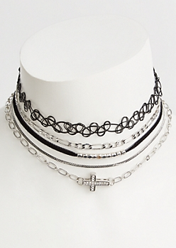 5-Pack Silver Tattoo Cross Choker Necklace Set