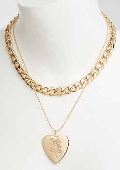 Gold Layered Chain Rose Stamp Necklace