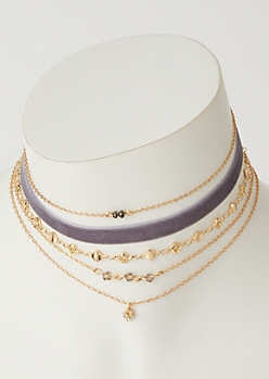 5-Pack Gold Velvet Beaded Choker Necklace Set
