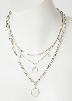 3-Pack Silver Circle Bull Ring Necklace Set