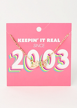 Gold 2003 Birth Year Necklace