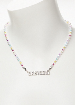 Silver Rainbow Bead Babygirl Necklace