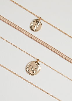 4-Pack Ancient Coin Necklace Set