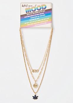 3-Pack Gold Mood Weed Leaf Necklace Set