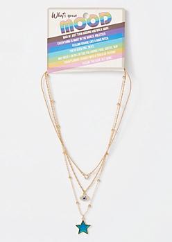 3-Pack Gold Mood Star Necklace Set