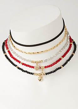 5-Pack Beaded Charm Choker Necklace Set