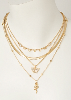 4-Pack Gold Queen Butterfly Necklace Set