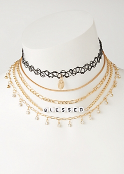 5-Pack Blessed Tattoo Choker Necklace Set