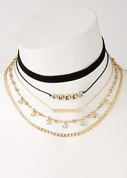 5-Pack Queen Chain Choker Necklace Set