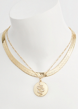 2-Pack Gold Snake Coin Necklace Set