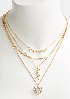 4-Pack Gold Layered Love Necklace Set