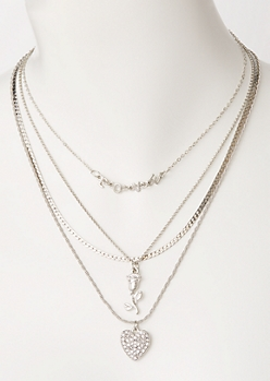 4-Pack Silver Layered Love Necklace Set