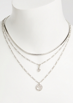 3-Pack Silver Heart Cutout Necklace Set