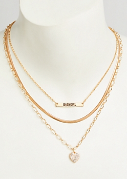 3-Pack Gold Baby Girl Layered Necklace Set