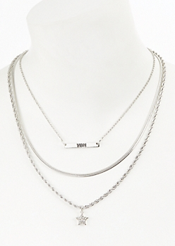 3-Pack Silver Star Vibin Necklace Set