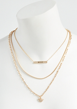 3-Pack Gold Baddie Crown Necklace Set