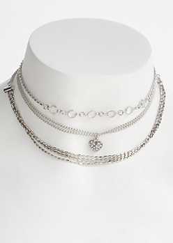 3-Pack Silver Multi Heart Choker Set
