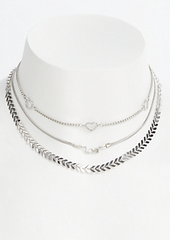 3-Pack Silver Love Choker Set