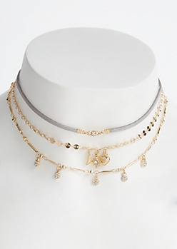 3-Pack Gold Trio Charm Choker Set