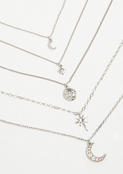 5-Pack Silver Celestial Charm Necklace Set