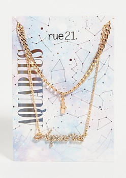 2-Pack Gold Aquarius Layered Necklace Set
