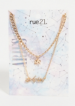 Gold Aries Layered Necklace Set