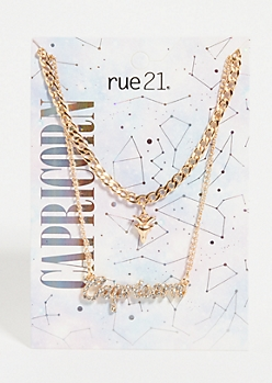 Gold Capricorn Layered Necklace Set