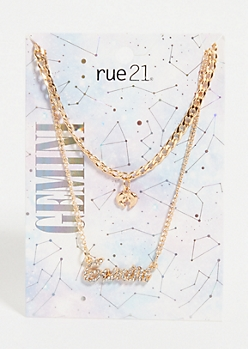 Gold Gemini Layered Necklace Set