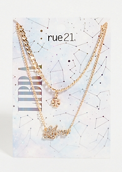 Gold Libra Layered Necklace Set
