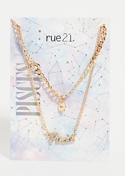 Gold Pisces Layered Necklace Set