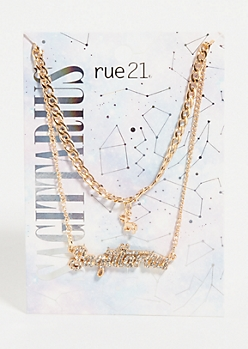Gold Sagittarius Layered Necklace Set
